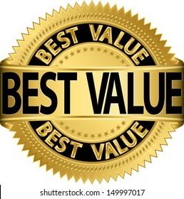 Best value golden label, vector illustration