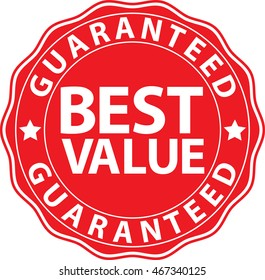 Best value guaranteed red sign, vector illustration