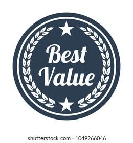 Best value label on white background. Vector illustration