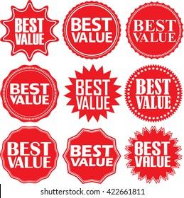 Best value red label. Best value red sign. Best value red banner. Vector illustration