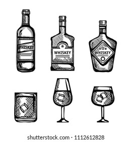 best whiskey bottles and cups drawn
