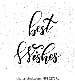 Best wishes - brush script calligraphic design for Xmas greetings cards, invitations. Handwritten calligraphy on black subtle ink spotted texture background.