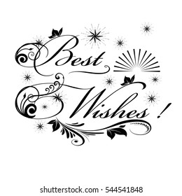 Best wishes card. Vector isolated lettering text  illustration on white background.