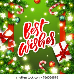 best wishes  - Christmas greeting card. Happy new year. Xmas vector background. Hand drawn calligraphy. concept handwritten
