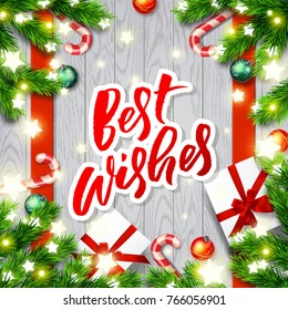 Best Wishes Christmas Greeting Card Happy Stock Vector (Royalty Free ...