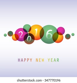 Best Wishes - Colorful Abstract Modern Style Happy New Year Greeting Card, Cover or Background, Creative Design Template - 2016