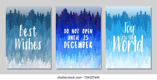 Best wishes, do not open until december 25, joy to the world cards design. Winter forest  with christmas trees landscape. Winter scene background with fir trees. Greeting card templates vector design.