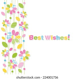 best wishes flowery greeting card