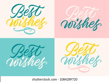 best wishes, handwritten text, calligraphy, lettering, set of cards