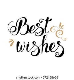 Best wishes lettering typography vector, clipart for cards, ink posters design