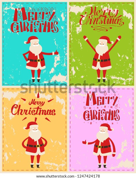 Best wishes of Merry Christmas from Santa Claus cartoon characters on greeting cards. Saint Nicholas showing ok sign, hands up, welcome gestures vector on grunge