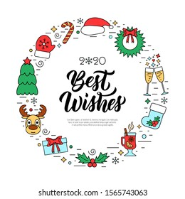 Best wishes modern calligraphy quote with colorful Christmas holidays frame with traditional attributes in line icon style. Vector illustration