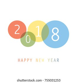 Best Wishes - Simple Colorful New Year Card, Cover or Background Design Template - 2018