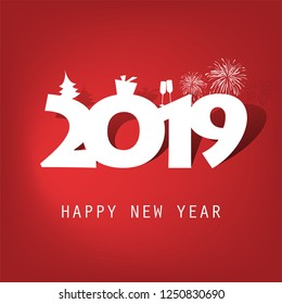 Best Wishes - Simple Red and White New Year Card, Cover or Background Design Template With Christmas Tree, Gift Box, Drinking Glasses And Fireworks - 2019