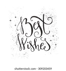 Best Wishes - unique handdrawn typography poster. Vector art. Great design element for congratulation cards, banners and flyers. Xmas design.
