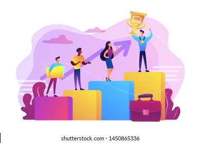 Best worker, specialist. Event sponsorship. Employee victory. Branded competition, marketing competitive event, contests organized by brand concept. Bright vibrant violet vector isolated illustration