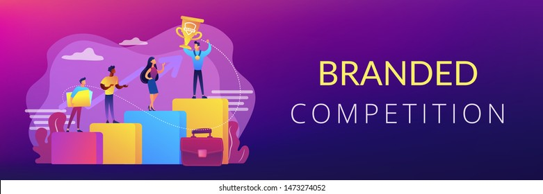 Best worker, specialist. Event sponsorship. Employee victory. Branded competition, marketing competitive event, contests organized by brand concept. Header or footer banner template with copy space.