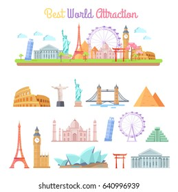 Best world attractions vector illustrations set. Rome Coliseum, Eiffel Tower, White house, Big Ben, Pyramid of Cheops and other most famous places.