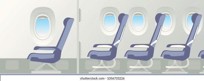 The best and worst coach seats. Porthole, VIP and economy armchair inside a passenger airplane. Vector illustration.
