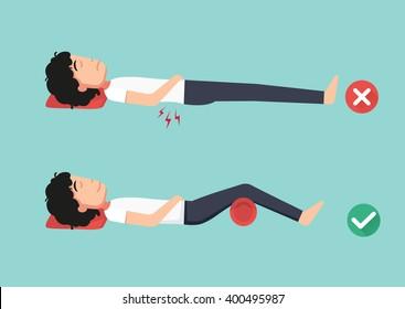 Mejores y peores posiciones para dormir, ilustración, vector