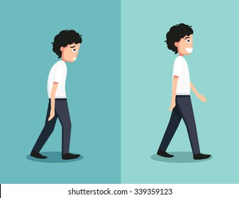 Best and worst positions for walk, illustration, vector