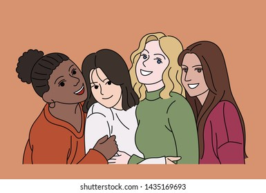 Bestfriends girls of various races. hand drawn style vector design illustrations.