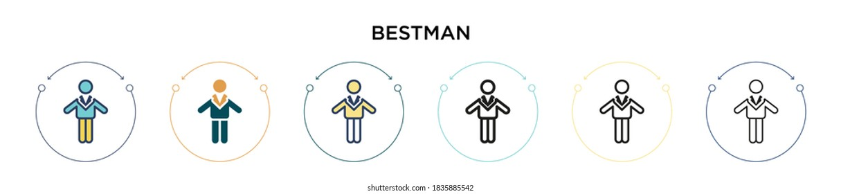 Bestman icon in filled, thin line, outline and stroke style. Vector illustration of two colored and black bestman vector icons designs can be used for mobile, ui, web
