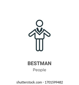 Bestman outline vector icon. Thin line black bestman icon, flat vector simple element illustration from editable people concept isolated stroke on white background
