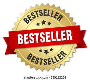 bestseller 3d gold badge with red ribbon. bestseller badge. bestseller. bestseller sign.