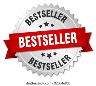 bestseller 3d silver badge with red ribbon. bestseller badge. bestseller. bestseller sign.