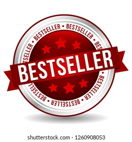 Bestseller Badge - Online Button - Banner with Ribbon.