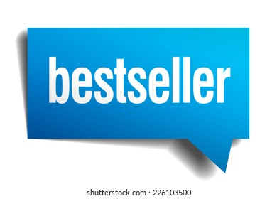 bestseller blue 3d realistic paper speech bubble. bestseller speech bubble. bestseller. bestseller sign. bestseller sticker.