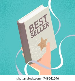 Bestseller book and ribbon with shading effect. Vector illustration