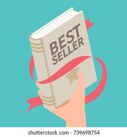 Bestseller book with ribbon. Vector illustration