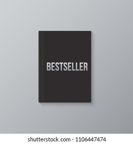 Bestseller book template. Vector black blank book cover and Bestseller word.