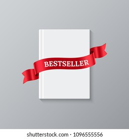 Bestseller book template. Vector white blank book cover and red ribbon with Bestseller word.