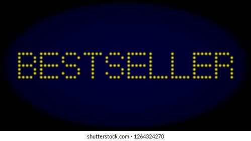 Bestseller caption in LED style with round glowing dots. Vector bright yellow letters forms Bestseller caption on a dark blue background. Digital font with circle elements.