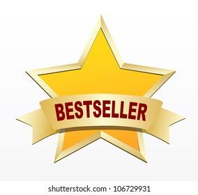 Bestseller gold label. Vector
