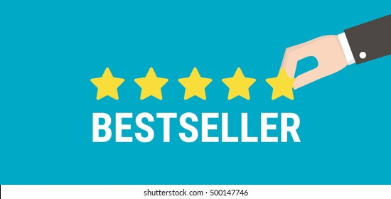 Bestseller Golden Five Star Rating With Vector Hand Holding Text Illustration