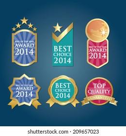 Bestseller Guaranteed Labels Badges in blue green pink