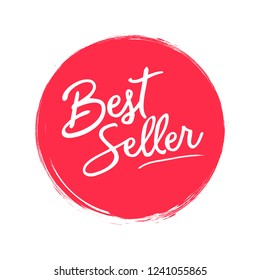 Bestseller handwritten label on red circle with grunge brush stroke background. Creative typography for business, promotion and advertising. Vector illustration for your design