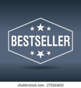 bestseller hexagonal white vintage retro style label. bestseller stamp. bestseller. bestseller sign.