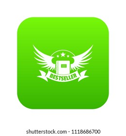 Bestseller icon green vector isolated on white background