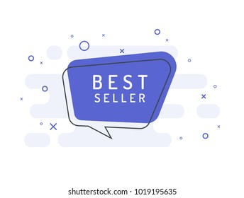 Bestseller label. Trendy flat vector bubble. Pink banner on a blue background.
