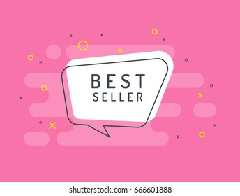 Bestseller label. Trendy flat vector bubble. White banner on a pink background.