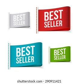 Bestseller labels with shadow. Isolated vector illustration.