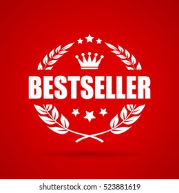 Bestseller laurel vector icon illustration isolated on red background. Bestseller vector icon. Best seller vector clip art.