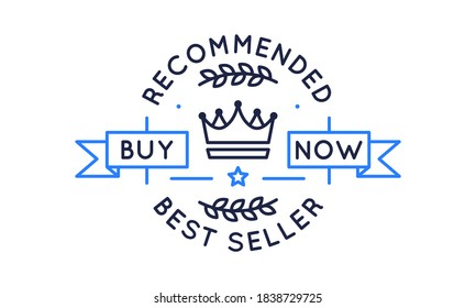 Bestseller logo, banner. Recommended product banner template for social media.  Bestseller logo with crown icon and banners. Best Seller label, badge, sticker. Vector illustration