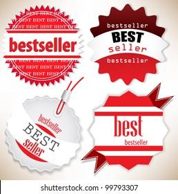 Bestseller. Red  labels. Vector set