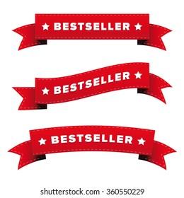 Bestseller red ribbon vector